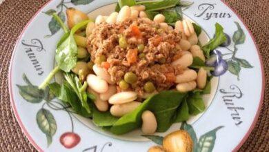 Salada de Feijão Branco, Atum, Rúcula e Coentro